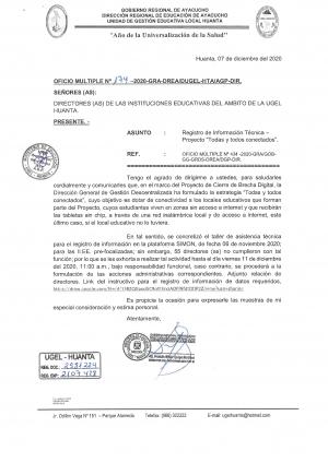 OFICIO MULTIPLE Nº 0174-2020-GRA-DREA/DUGEL-HTA/AGP-DIR