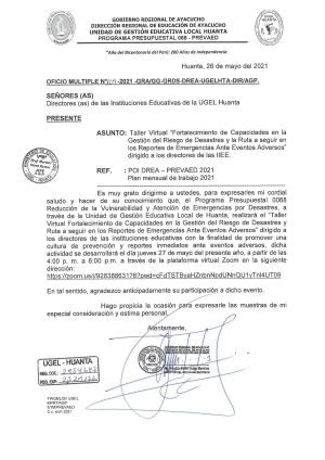 OFICIO MULTIPLE N° 109 - 2021 - GRA/GG-GRDS-DREA-UGELHTA-DIR/AGP