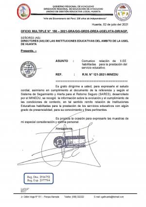 OFICIO MULTIPLE Nº 150 – 2021-GRA/GG-GRDS-DREA-UGELHTA-DIR/AGP.