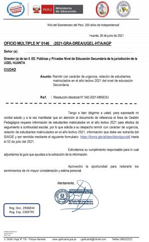 OFICIO MÚLTIPLE N° 0146 - 2021-GRA-DREA/UGEL-HTA/AGP