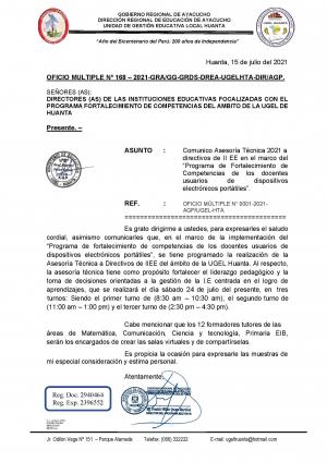 OFICIO MULTIPLE Nº 168 – 2021-GRA/GG-GRDS-DREA-UGELHTA-DIR/AGP