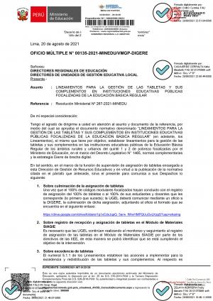 OFICIO MÚLTIPLE N° 00135-2021-MINEDU/VMGP-DIGERE