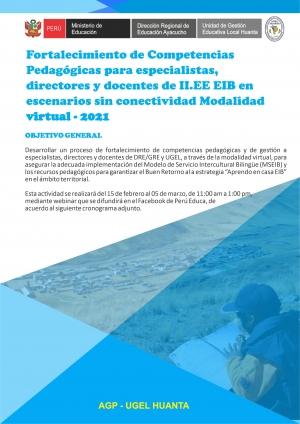 Fortalecimiento de Competencias Pedagógicas para especialistas, directores y docentes de II.EE EIB en escenarios sin conectividad  Modalidad virtual - 2021