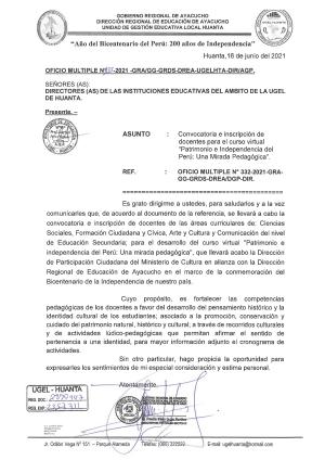 OFICIO MULTIPLE N° 133 -2021 -GRA/GG-GRDS-DREA-UGELHTA-DIR/AGP