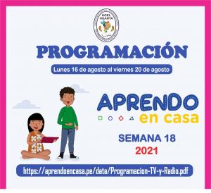 PROGRAMACIÓN DE APRENDO EN CASA DEL 16 AL 20 DE AGOSTO 2021