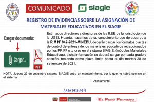 REGISTRO DE EVIDENCIAS SOBRE LA ASIGNACIÓN DE MATERIALES EDUCATIVOS EN EL SIAGIE