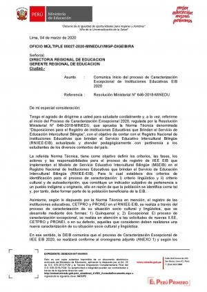 OFICIO MÚLTIPLE 00027-2020-MINEDU/VMGP-DIGEIBIRA