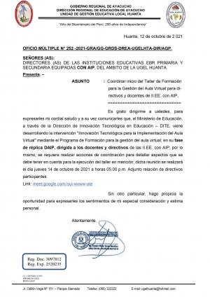 OFICIO MÚLTIPLE N° 252 -2021-GRA/GG-GRDS-DREA-UGELHTA-DIR/AGP.