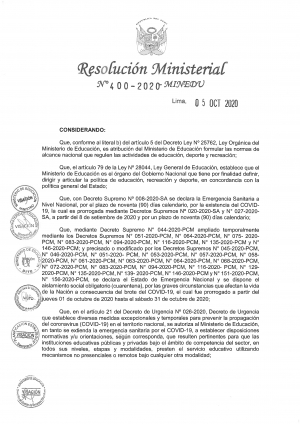 RESOLUCION MINISTERIAL N° 400-2020-MINEDU