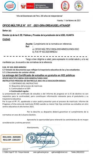 OFICIO MÚLTIPLE N° 017 -2021-GRA-DREA/UGEL-HTA/AGP