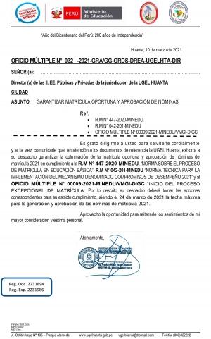 OFICIO MÚLTIPLE N° 032 -2021-GRA/GG-GRDS-DREA-UGELHTA-DIR