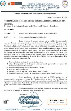OFICIO MULTIPLE N° 056 -2021-GRA/GG-GRDS-DREA-UGELHTA-ADM-ABAST-HTA.