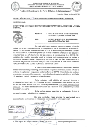 OFICIO MULTIPLE N° 128 - 2021 - GRA/GG-GRDS-DREA-UGELHTA-DIR/AGP