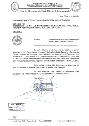 OFICIO MULTIPLE N° 122 - 2021 - GRA/GG-GRDS-DREA-UGELHTA-DIR/AGP