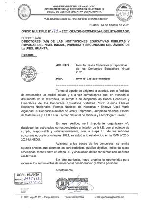 OFICIO MÚLTIPLE N° 199 -2021 -GRA/GG-GRDS-DREA-UGELHTA-DIR/AGP.