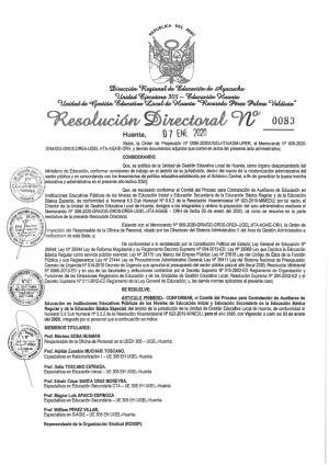 RESOLUCIÓN DIRECTORAL Nº 0083