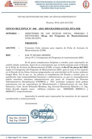 OFICIO MULTIPLE N° 080 - 2021 - ME/GRA/DREA/UGEL-HTA-DIR