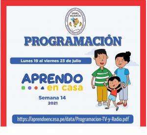 PROGRAMACIÓN DE APRENDO EN CASA DEL 19 AL 23 DE JULIO 2021