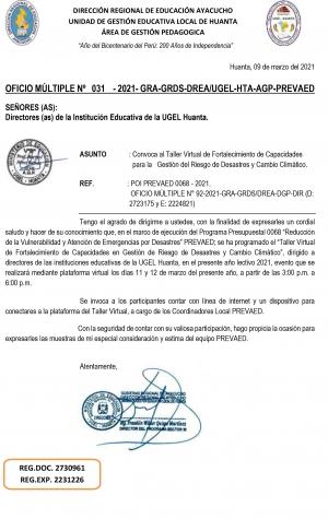 OFICIO MÚLTIPLE Nº 031 - 2021- GRA-GRDS-DREA/UGEL-HTA-AGP-PREVAED