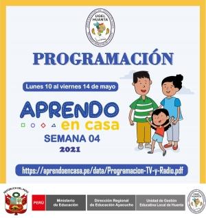 PROGRAMACIÓN DE APRENDO EN CASA DEL 10 AL 14 DE MAYO 2021