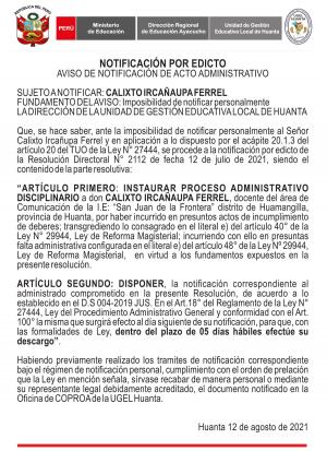 AVISO DE NOTIFICACIÓN DE ACTO ADMINISTRATIVO