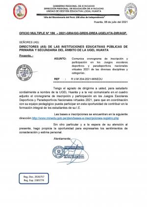 OFICIO MULTIPLE Nº 156 – 2021-GRA/GG-GRDS-DREA-UGELHTA-DIR/AGP.