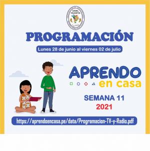 PROGRAMACIÓN DE APRENDO EN CASA DEL 28 DE JUNIO AL 02 DE JULIO 2021