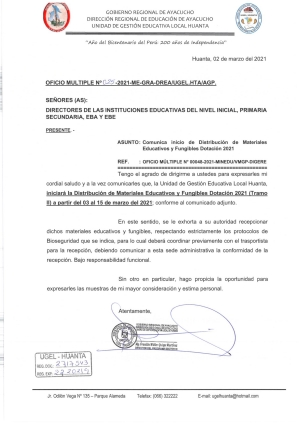 OFICIO MULTIPLE Nº 025-2021-ME-GRA-DREA/UGEL.HTA/AGP