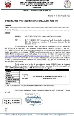 OFICIO MÚLTIPLE N°161 -2020-ME-GR-AYAC-DREA/DUGEL-AGI-E-HTA