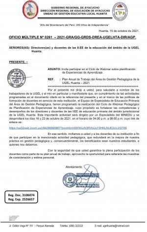 OFICIO MÚLTIPLE Nº 0261 – 2021-GRA/GG-GRDS-DREA-UGELHTA-DIR/AGP.