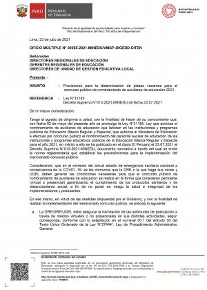 OFICIO MÚLTIPLE N° 00055-2021-MINEDUVMGP-DIGEDD-DITEN