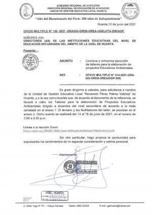 OFICIO MULTIPLE N° 130 - 2021 - GRA/GG-GRDS-DREA-UGELHTA-DIR/AGP