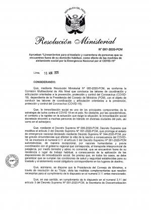 RESOLUCIÓN MINISTERIAL Nº 097-2020-PCM