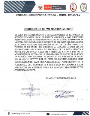 ULTIMA CONVOCATORIA DE CIERRE DEL D.U.Nº 004-2019 DE LA DECLARACIÓN DE GASTOS