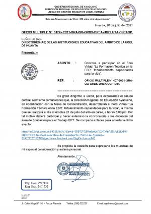 OFICIO MULTIPLE Nº 0177– 2021-GRA/GG-GRDS-DREA-UGELHTA-DIR/AGP.