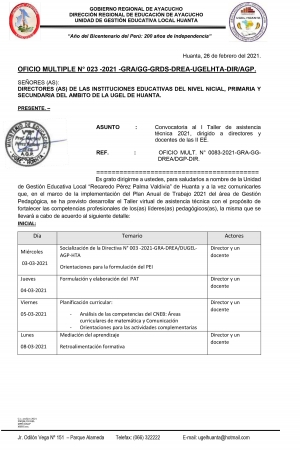 OFICIO MULTIPLE N° 023 -2021 -GRA/GG-GRDS-DREA-UGELHTA-DIR/AGP.