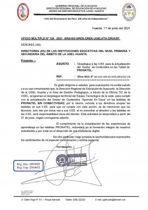 OFICIO MULTIPLE N° 136 -2021 -GRA/GG-GRDS-DREA-UGELHTA-DIR/AGP