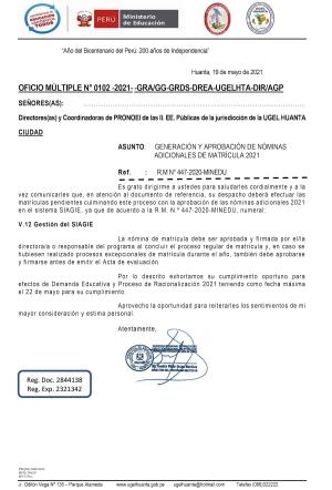 OFICIO MÚLTIPLE N° 0102 -2021- -GRA/GG-GRDS-DREA-UGELHTA-DIR/AGP