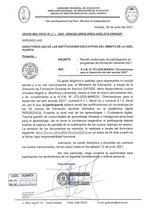 OFICIO MULTIPLE N° 127 - 2021 - GRA/GG-GRDS-DREA-UGELHTA-DIR/AGP