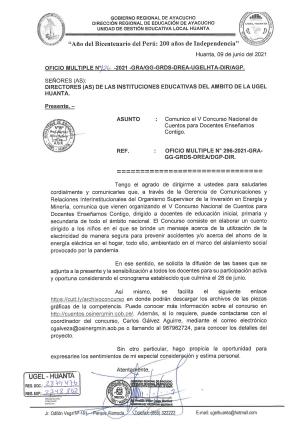 OFICIO MULTIPLE N° 126 - 2021 - GRA/GG-GRDS-DREA-UGELHTA-DIR/AGP