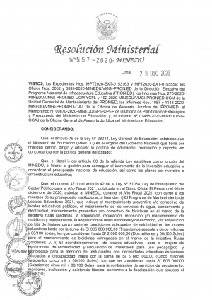 RESOLUCION MINISTERIAL N° 557-2020-MINEDU