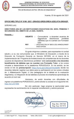 OFICIO MÚLTIPLE N° 0190 -2021 -GRA/GG-GRDS-DREA-UGELHTA-DIR/AGP.
