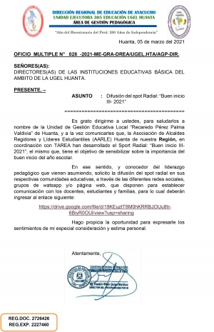 OFICIO MULTIPLE N° 028 -2021-ME-GRA-DREA/UGEL.HTA/AGP-DIR.