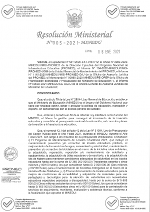 RESOLUCION MINISTERIAL N° 005-2021-MINEDU
