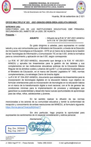 OFICIO MULTIPLE N° 223 -2021-GRA/GG-GRDS-DREA-UGELHTA-DIR/AGP.