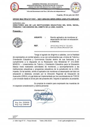 OFICIO MULTIPLE Nº 0151 – 2021-GRA/GG-GRDS-DREA-UGELHTA-DIR/AGP.
