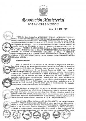 Resolución Ministerial Nº 014-2020 - MINEDU