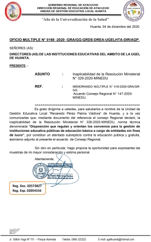 OFICIO MULTIPLE N° 0168 -2020 -GRA/GG-GRDS-DREA-UGELHTA-DIR/AGP.