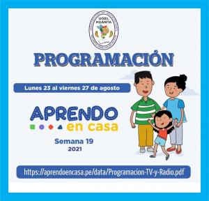 PROGRAMACIÓN DE APRENDO EN CASA DEL 23 AL 27 DE AGOSTO 2021