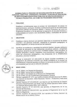 NORMAS PARA EL PROCESO DE RACIONALIZACIÓN DE PLAZAS DE PERSONAL DIRECTIVO, JERÁRQUICO, DOCENTE Y AUXILIAR DE EDUCACIÓN EN INSTITUCIONES EDUCATIVAS PÚBLICAS DE EDUCACIÓN BÁSICA Y TÉCNICO PRODUCTIVA